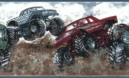Monster Truck Wallpaper Border by Rolling-Borders - Monster Truck Wall Border
