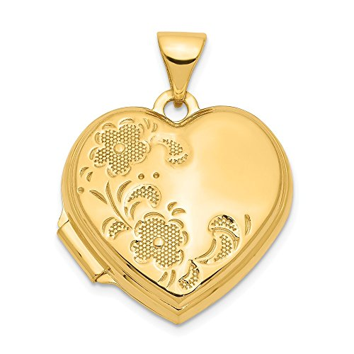 14k Yellow Gold 18mm Heart Shaped Floral Photo Pendant Charm Locket Chain Necklace That Holds Pictures Fine Jewelry Gifts For Women For Her