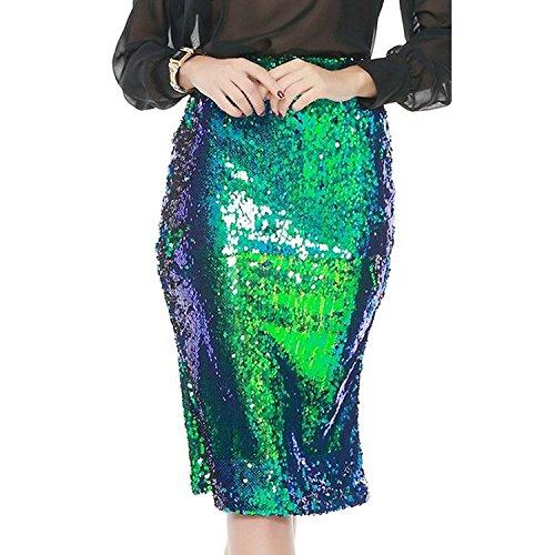 Haijie Womenss High Waist Blue Green Sequins Long Pencil Skirt Dress
