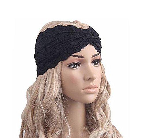 (Fashion Women Girls Lace Retro Sport Yoga Turban Headscarf Twist Head Wrap Headband Headwear Twisted Knotted Soft Hair Band Sport Yoga Turban Headscarf Wrap Hair Accessories (Black))