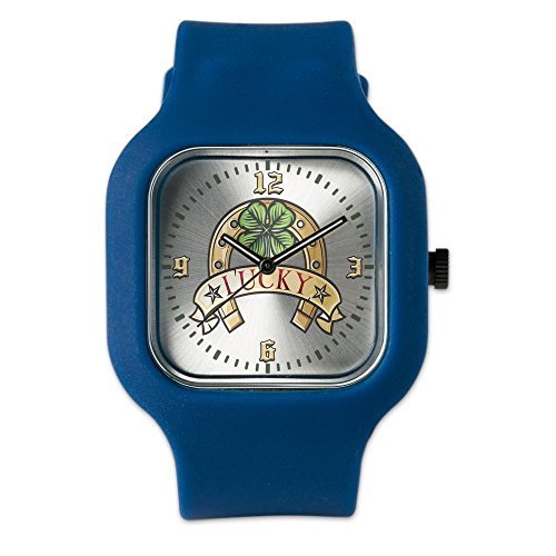Navy Blue Fashion Sport Watch Lucky Horseshoe with Four Leaf ()