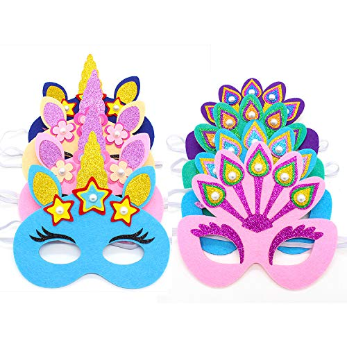 8 PCS Unicorn & Peacock Felt Masks Dress-Up Accessory Party Favors for Girls, Glitters + Pearls in Assorted - Pearl Felt