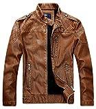 chouyatou Men's Vintage Stand Collar Pu Leather Jacket (Large, HZQM109-Brown)