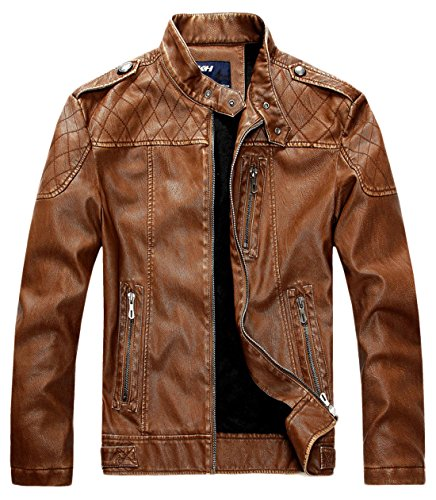 chouyatou Men's Vintage Stand Collar Pu Leather Jacket (Medium, HZQM109-Brown) (Brown Leather Quality)