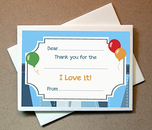 Birthday Thank You Cards (20 Flat Cards and Envelopes) Boys Flat Card Invites