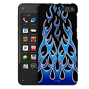 Amazon Fire Case, Slim Fit Snap On Cover by Trek Blue Flames on Black Case