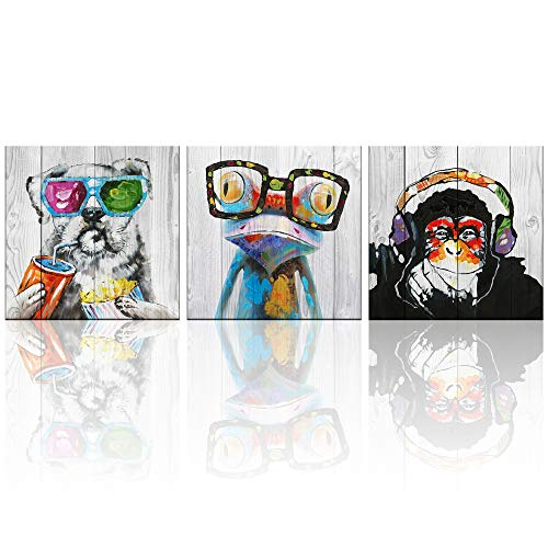 3 Panels Animal Wall Art Abstract Frog Gorilla Dog Print on Rustic Wood Background Picture Artwork Framed and Stretched Kids Living Room Wall Decor for Home Decoration 20