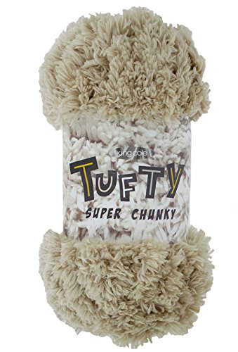 (King Cole Tufty Super Chunky Knitting Yarn 100% Polyester Soft Wool 1 x 200g (Beige - 2796))