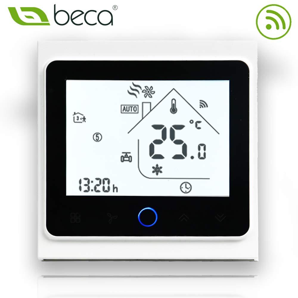 16A /Écran tactile LCD Eau///Électrique//Chauffage de la chaudi/ère Thermostat de contr/ôle de programmation intelligent avec connexion WIFI Chauffage /électrique, Noir complet BECA 002 Series 3