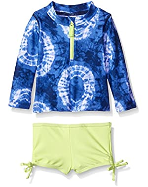 Baby Girls' Long Sleeve Tye Dye Rash Guard Set