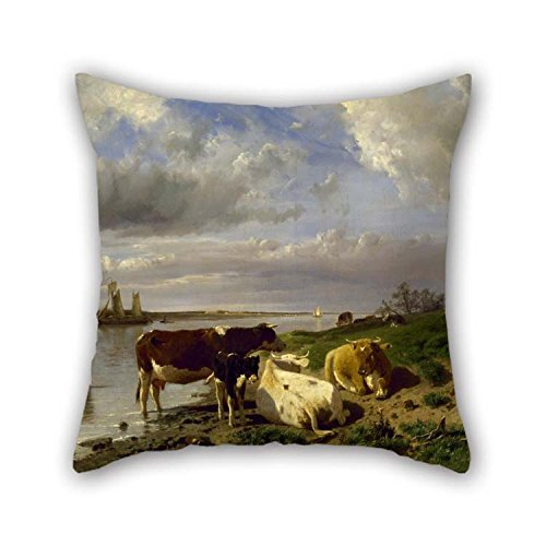 20 X 20 Inches / 50 by 50 cm Oil Painting Anton Mauve - Landscape with Cattle Throw Pillow Case Twice Sides Ornament and Gift to Seat Play Room Saloon Outdoor Saloon Bar Seat