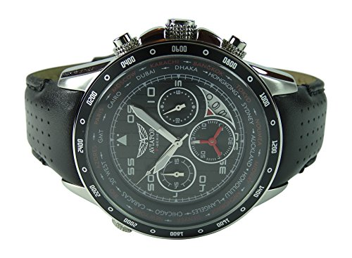 Amazon.com: AVIATOR Watch Mens Military Quartz Pilot Chronograph Black Leather Strap Wristwatch F-Series AVW7770G59: Watches
