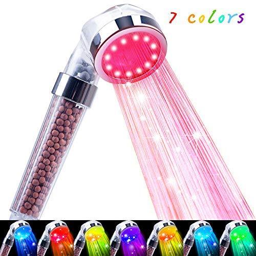 Korotus LED Shower Head Handheld-7colors changing 30% Water Saving High Pressure Negative Ion Sprinkler safety Child sprinkler