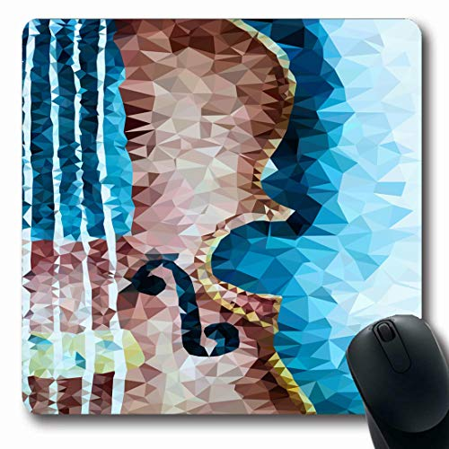 Ahawoso Mousepads for Computers Black Abstract Polygon Violin Music Vintage Fiddle Melody Poly Triangle Cello Design Play Oblong Shape 7.9 x 9.5 Inches Non-Slip Oblong Gaming Mouse ()
