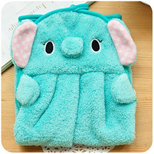 Cute Animal Microfiber Kids Children Cartoon Absorbent Hand Dry Towel Lovely Towel For Kitchen Bathroom Use Green Elephant by MJbeaful