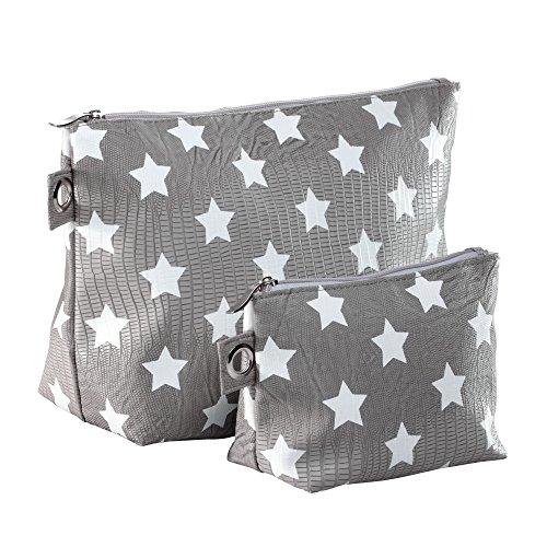 miaVILLA Kulturtaschen Kosmetiktaschen Set 2-teilig Sterne Grau Weiß