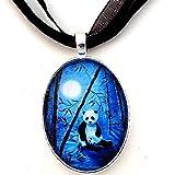 Laura Milnor Iverson Momma and Baby Panda Blue Moon Bamboo Handmade Jewelry Art Pendant