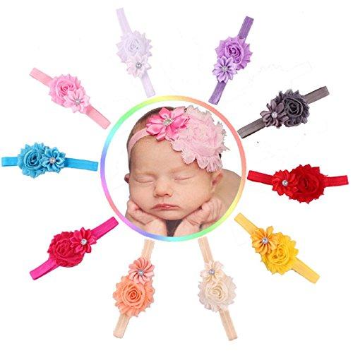 Fullkang 10pcs bébé fille fleur multicolore élastique bandeau strass cheveux bande