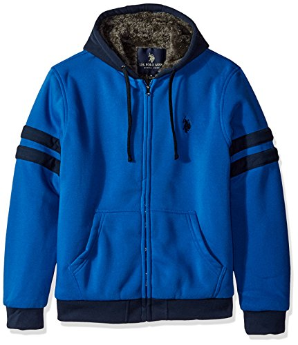 U.S. Polo Assn. Men's Striped Sleeve Fleece Hoodie with Sherpa Lining, China Blue, XL (Polo Hooded Sweatshirt compare prices)