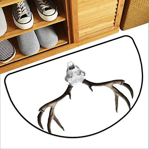 DILITECK Outdoor Door mat Antlers Decor A Deer Skull Skeleton Head Bone Halloween Weathered Hunter Collection Antifouling W31 xL20]()