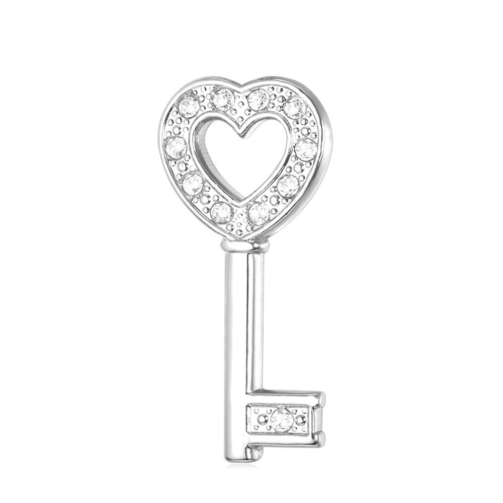 Men Women Rhinestone Crystal Platinum Plated Heart Key Brooch For Business Suit, Tie, Hat,Jacket