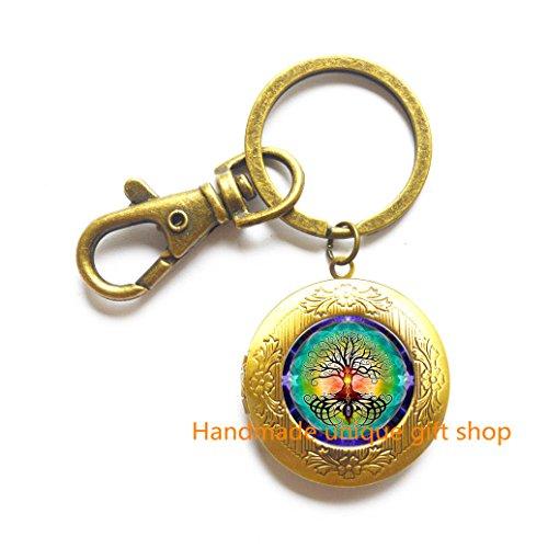 Modern Fashion Locket Keychain,Beautiful Locket Keychain ,Life Tree Locket Keychain Evil Eye Glass Cabochon Locket Key Ring Locket Keychain Statement Locket Keychain gift-RC225
