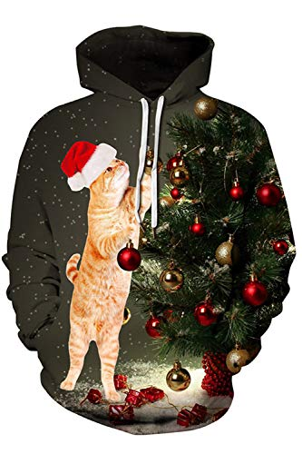(Cutiefox Boys and Girls Sweatshirt 3D Print Pullover Sweatwer Cool Hoodies for Men Funny Animal Fleece Hoody Cat 2XL)