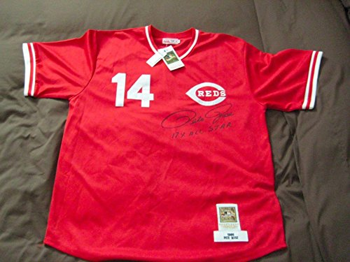 (Pete Rose Signed Jersey - 17X All Star Mitchell & Ness - PSA/DNA Certified - Autographed MLB Jerseys)