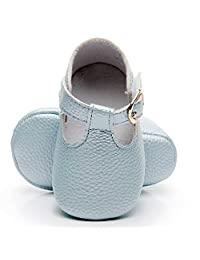 HONGTEYA Baby Girls Boys T-Strap Moccasins - Newborn First Walker Mary Jane PU Soft Soled Sandals Shoes