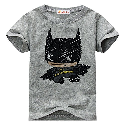 Toddler T-shirt for Batman Fans Superhero Graphic Short Sleeve Cotton Tee by Sun Baby,Gray,4-5 Years/Tag Size: 110