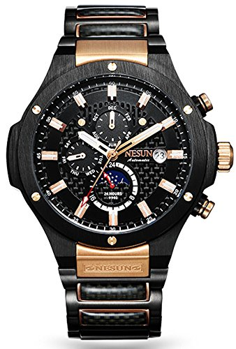 Men's Military Multifunction Automatic Mechanical Analog Stainless Steel Black Sports Luminous Watch (Rose Gold-Black) by NESUN (Image #6)