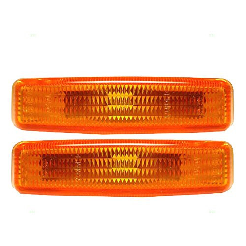 Pair of Signal Side Repeater Lights Lamps Amber Lenses Replacement for BMW 63148360589 (Amber Repeater Side)