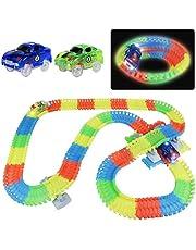 Symiu Coches Circuito Pista Cars Juguetes Niños Vehiculos 240 Piezas 2 Coches Brillante Flexible Juguetes para Niños 3 4 5