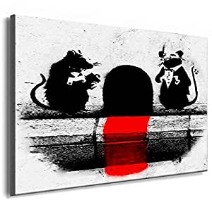 Banksy Graffiti Street Art -1129a, Size 100x70x2 Cm. Printed On Canvas Stretched On A Wooden Frame.