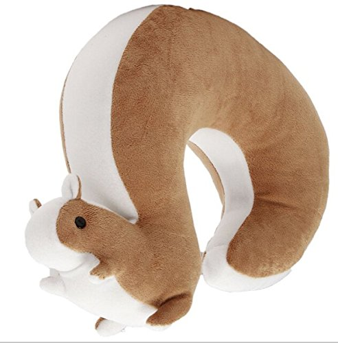 Buytra Plush Big Tail Squirrel Toy U-shape Pillow Soft Toys Travel Neck Pillow