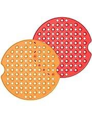 Tuaha Tapetes para fritadeira Air Fryer redondos, reutilizáveis, antiaderentes, forros de silicone para fritadeira a ar, tapetes espessos, resistentes ao calor, acessórios para fritadeira a ar, para fazer alimentos racionais