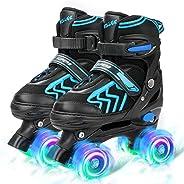 SZHZS Boys Girls Adjustable Kids Roller Skates with 8 Full Light Up Wheels for Little Big Toddler Children Beg