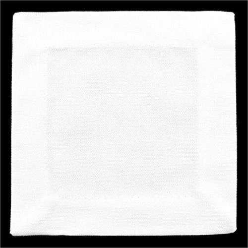 (12 Pack - CleverDelights White Cocktail Napkins - 100% Cotton Canvas - 6