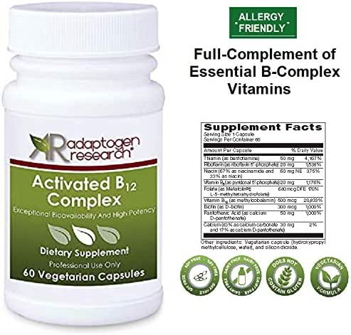 Activated B12 Complex | B Complex Vitamins with Folate as Metafolin L-5- methyltetrahydrofolate Methylcobalamin Thiamin as Benfotiamine | High Potency & Exeptional Bioavailability|60 Vegetarian caps