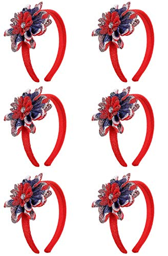 4th of July Party Headbands - Patriotic Party Hats Ideal for Independence Day Celebrations USA Design Hairband (6 Pack)