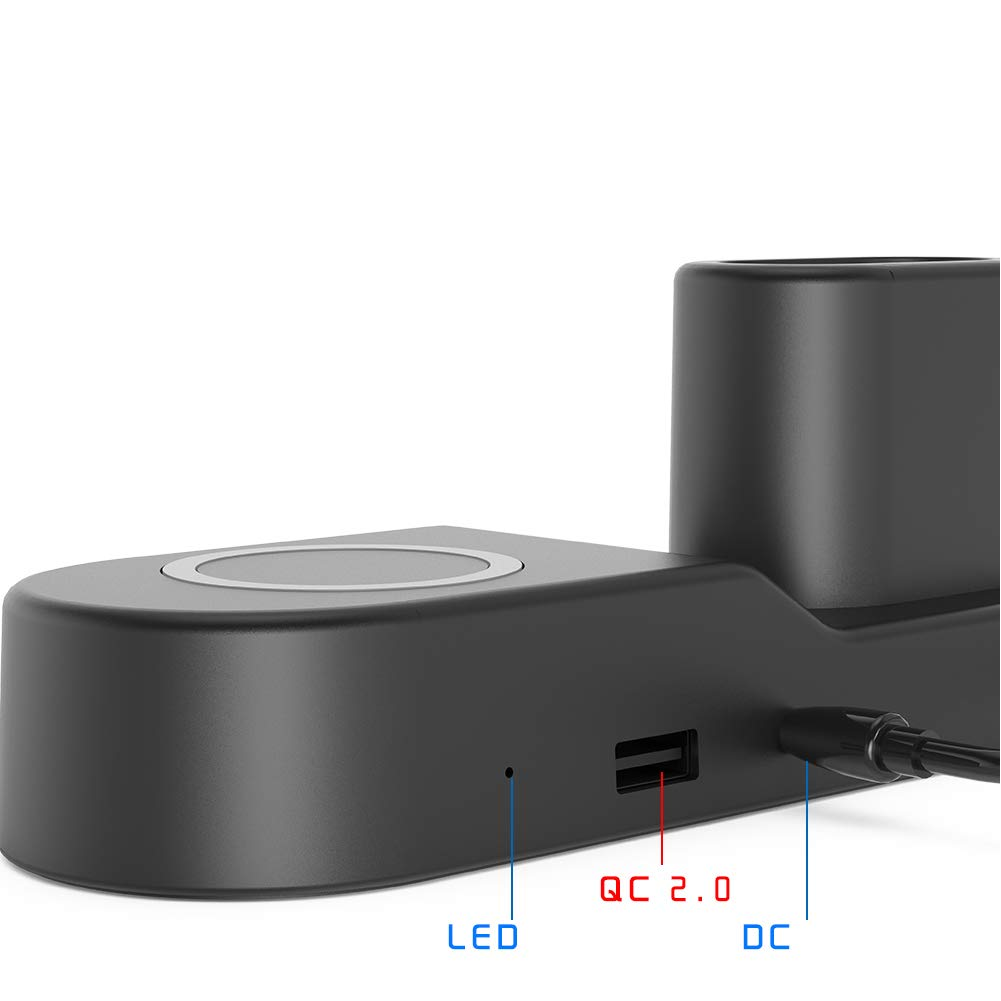 FACEVER 36W 3 in 1 Wireless Charger Station with USB Output, Fast Qi Wireless Charger Compatible with Apple Watch iWatch Airpods iPhone Xs MAX XR X 8 Plus, Samsung S9 S8+, Qi-Enabled Devices -Black by FACEVER (Image #4)