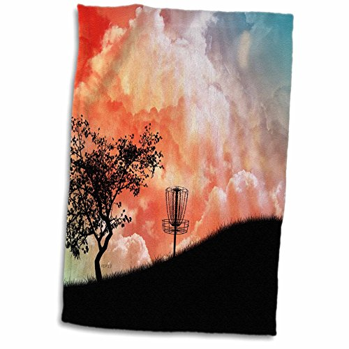 (3D Rose Hill Silhouette of a Frisbee disc Golf Basket with Chains TWL_173454_1 Towel, 15