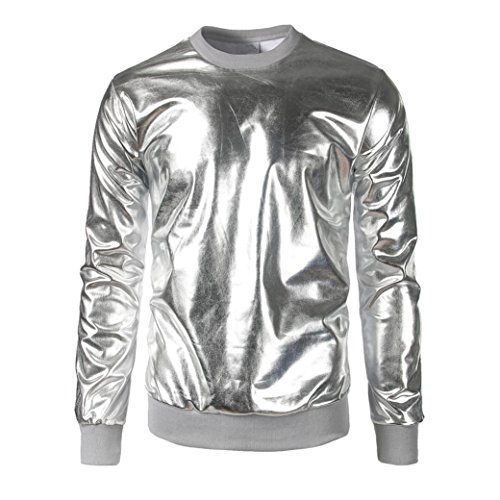 Sikye Men's Pullover O Neck Muscle Tee Long Sleeve T-shirt Casual Tops Blouse Sequins (L, Silver)