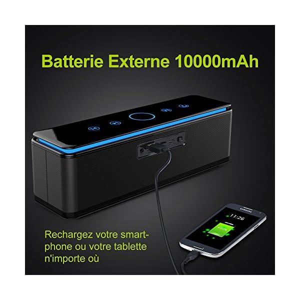 Enceinte Bluetooth Portable, Batterie Externe 10000mAh 26W 4 Haut-Parleurs 24 Heures d'Autonomie Subwoofer Basses Puissantes Contrôle Tactile AUX/Micro Carte SD/TF/Microphone-Noir 3