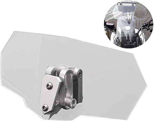 Tencasi Motorrad Clip-On Windschild Spoiler-Aufsatz Windschutzscheibe Verl/änger rauchgrau