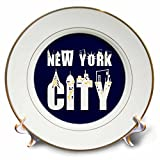 3dRose Alexis Design - American Cities - Elegant text New York City, landmarks, shining windows on blue - 8 inch Porcelain Plate (cp_286455_1)