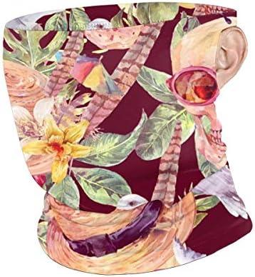フェイスカバー Uvカット ネックガード 冷感 夏用 日焼け防止 飛沫防止 耳かけタイプ レディース メンズ Flowers And Skulls With Hats