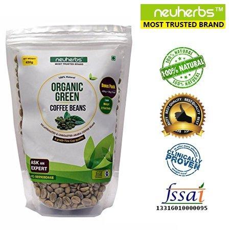 Neuherbs 100% Organic Green Coffee beans Decaffeinated & Unroasted Coffee Beans – 200g + 25g Free!