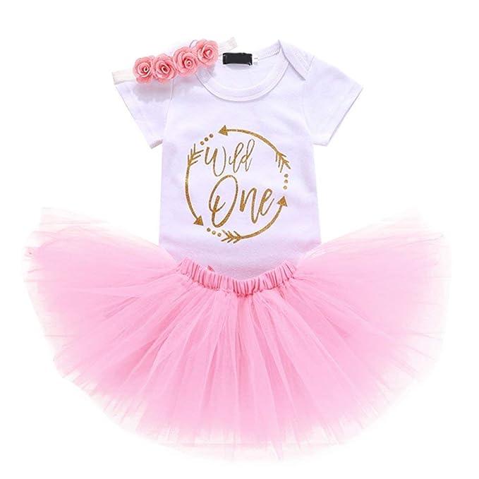 26d1994e7 MyLOVE Conjunto de 3 Piezas para recién Nacido bebé niña Primer cumpleaños  Rosa Floral Salvaje una