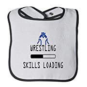 Wrestling Skills Loading Sport #2 Cotton Terry Unisex Baby Terry Bib Contrast Trim - White Black, One Size